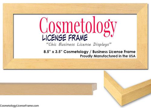 natural wood cosmetology license frame