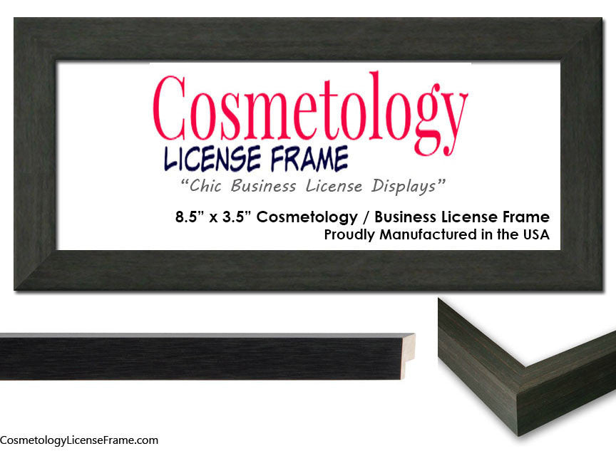 Simple Charcoal Grey Wood Cosmetology License Frame 8.5 x 3.5 ...