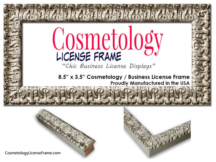Silver Ornate Cosmetology License Frame