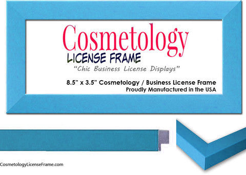 Simple Blue Wood Cosmetology License Frame 8.5 x 3.5 ...