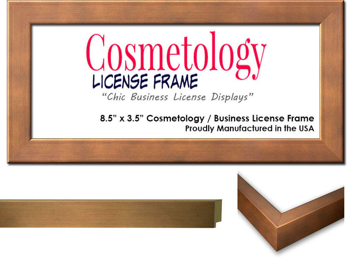 Metallic Bronze Cosmetology License Frame