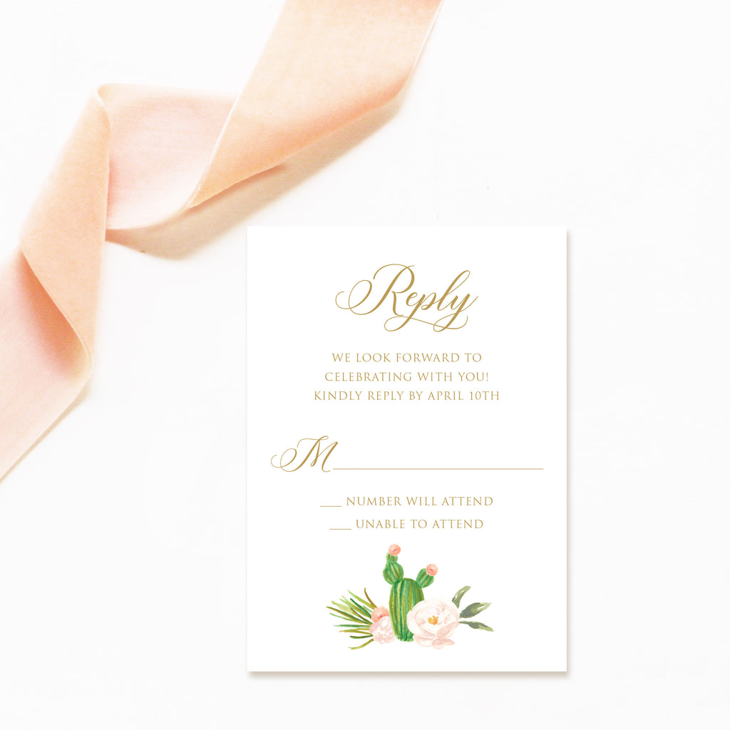 watercolor cactus wedding invitation