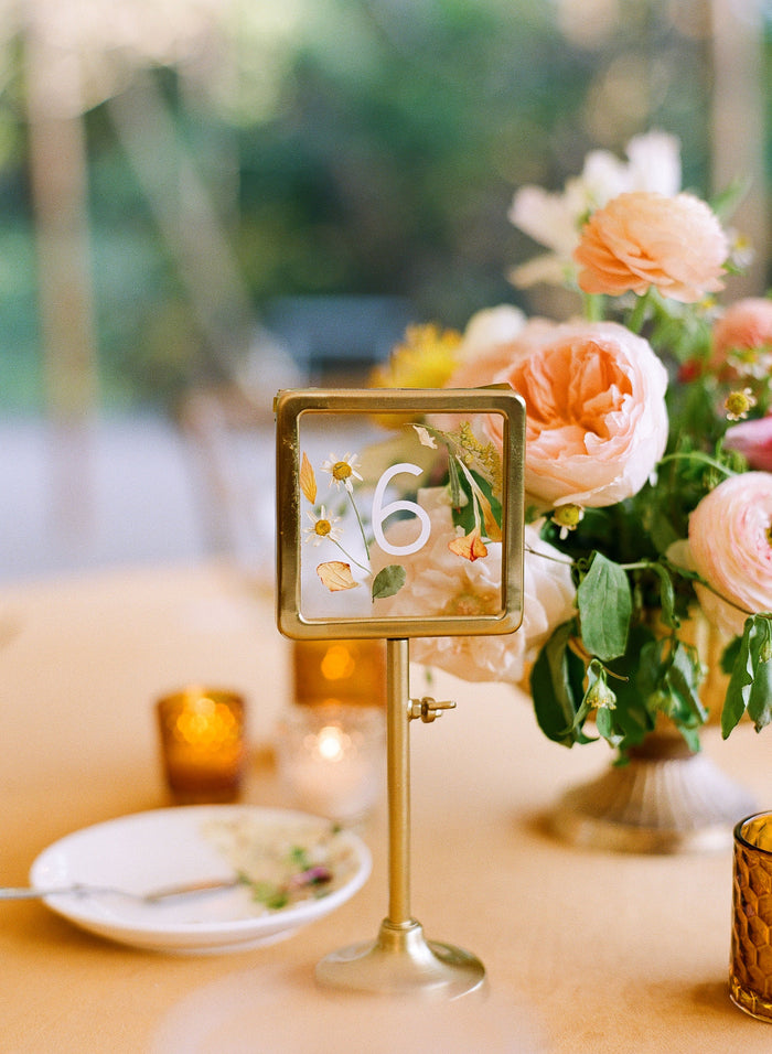 gold table number stands