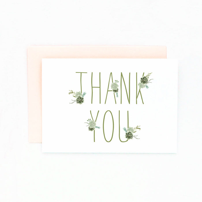 succulent thank you card set