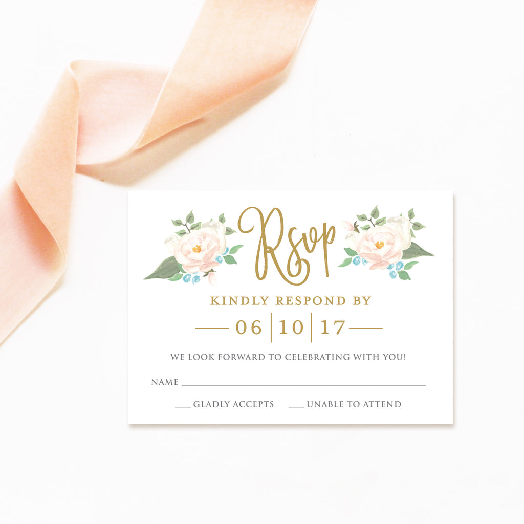 watercolor floral wedding invitation