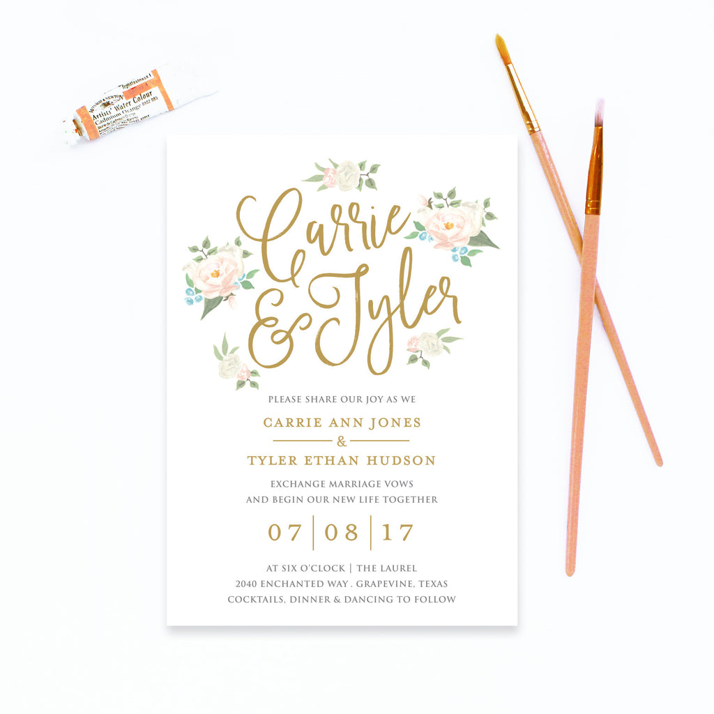 Wedding Invite Printing: Watercolor Floral Wedding Invitation
