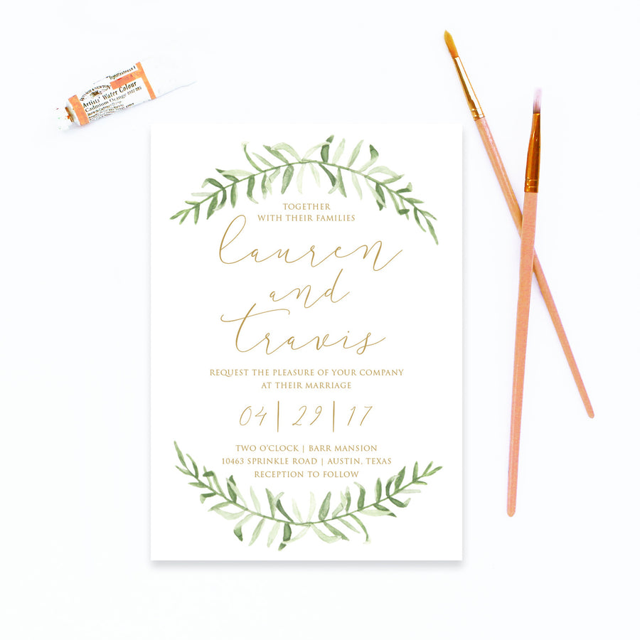 watercolor leaf wedding invitation
