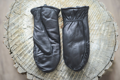 Cozy Finger Mitts - Black Leather