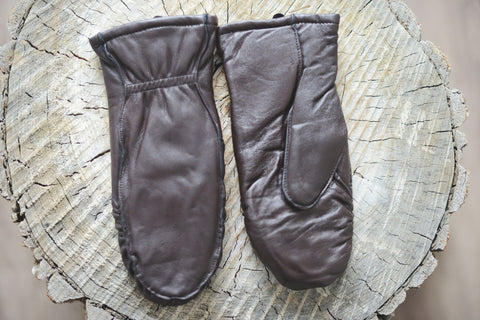 Cozy Finger Mitts - Dark Brown Leather