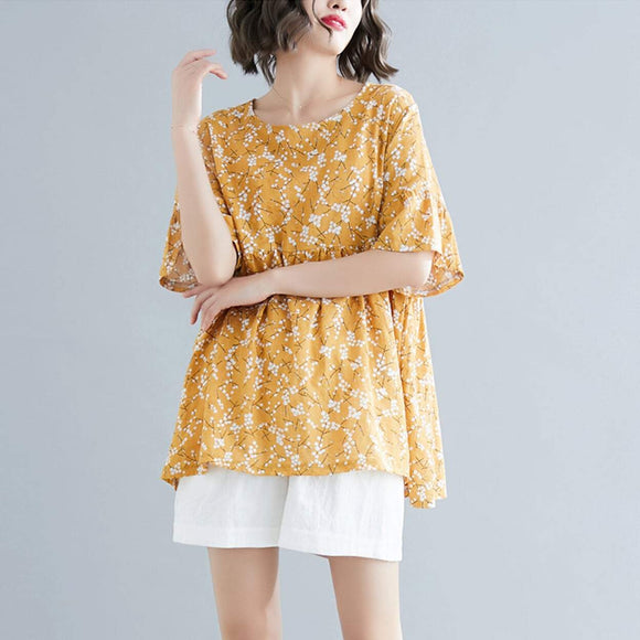 Womens Floral Yellow Top