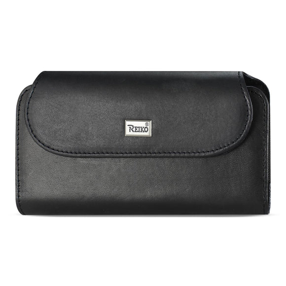 Reiko Horizontal Genuine Leather Pouch iPhone 7 Plus/ 8 Plus With Card Holder In Black (6.62X3.46X0.68 Inches Plus) - Presidential Brand (R)