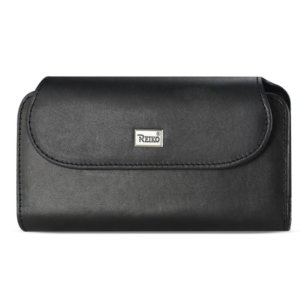 Reiko Horizontal Genuine Leather Pouch iPhone 7 Plus/ 8 Plus With Card Holder In Black (6.62X3.46X0.68 Inches Plus)