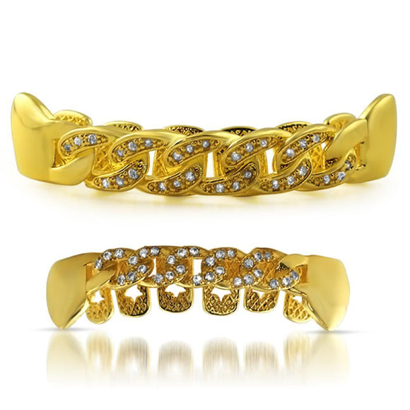 CZ Gold Cuban Grillz Set - Presidential Brand (R)