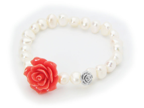 Ceramic Pink Rose Fresh Water Pearl Stretch Bracelet in Sterling Silver