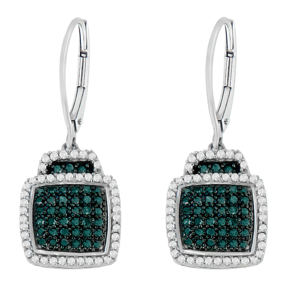 Sterling Silver 3/4ct TDW Treated Blue Diamond Square Dangle Earrings (I-J,I2) - Presidential Brand (R)