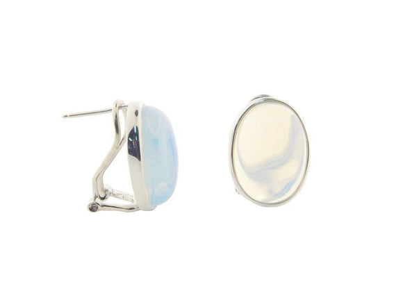 Oval Opal Crystal Cabuchon Clip Earrings  in Sterling Silver - Presidential Brand (R)