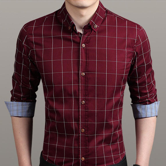 Mens Checkered Button Down Shirt In Red - Presidential Brand (R)