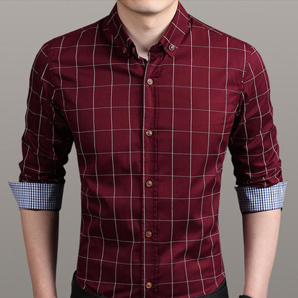 Mens Checkered Button Down Shirt In Red