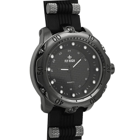 All Black Rubber Fashion Mens Watch - Presidential Brand (R)