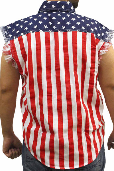 Men's USA Flag Sleevless Denim Shirt Biker Vest American Pride