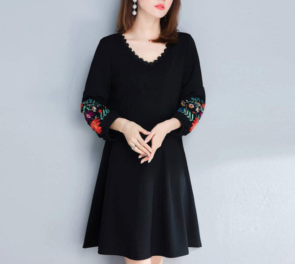 Womens V  Neck Dress with Embroidered Sleeves