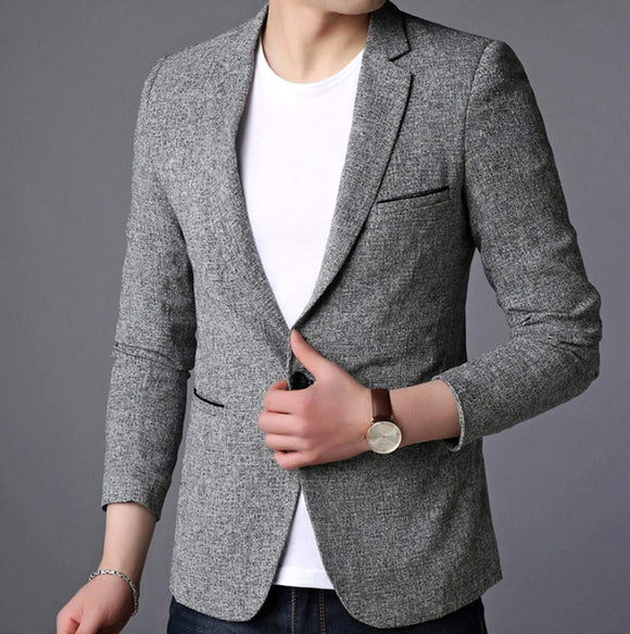 Mens Single Button Gray Blazer - Presidential Brand (R)