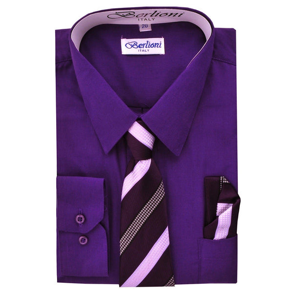 Boy's Dress Shirt/Necktie/Hanky N723-Purple