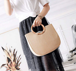 Straw Tote with Round Wooden Handles - Presidential Brand (R)