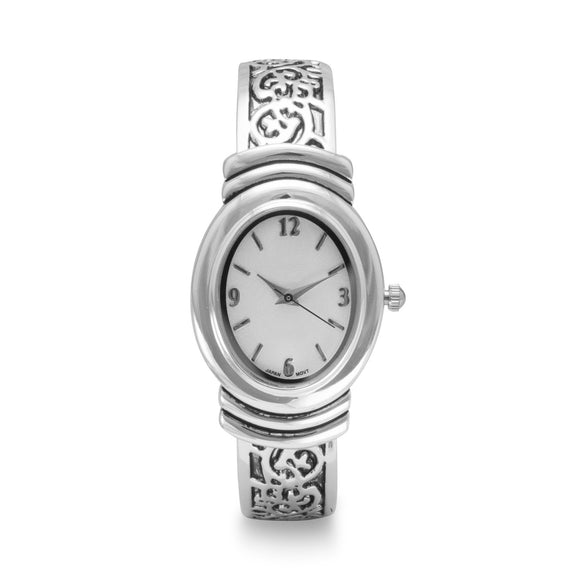 Oxidized Scroll Design Fashion Cuff Watch - Presidential Brand (R)