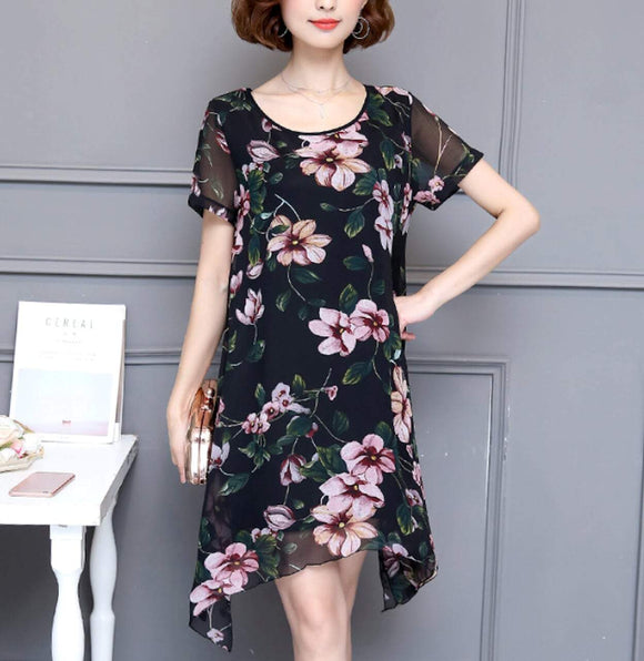 Womens Uneven Short Sleeve Floral Dress