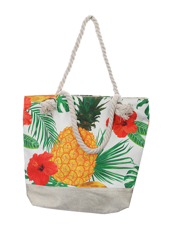 TROPICAL PRINT BEACH TOTE