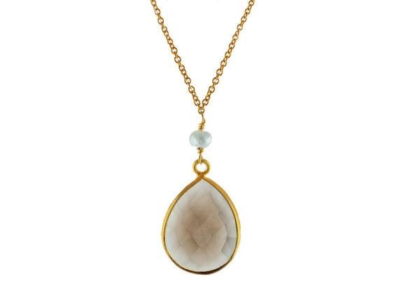 Tear Drop Natural Quartz & Pearl Necklace - Presidential Brand (R)