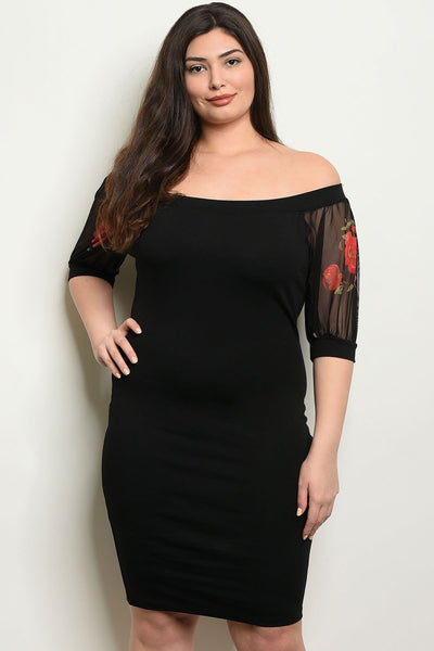 Women's Plus Size Black Short Sleeve Off The Shoulder Bodycon Dress(6 pcs/ Bundle)
