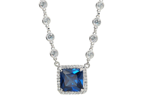 Royal Sapphire CZ Square Pendant on CZ by the Yard Chain Necklace, Length: 15-16 Inches