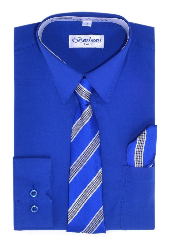 Boy's Dress Shirt/Necktie/Hanky N733-Royal - Presidential Brand (R)