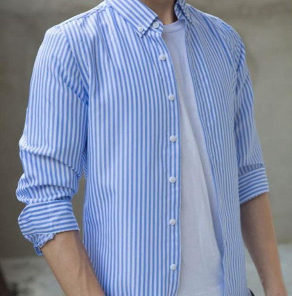 Mens Light Blue Vertical Striped Shirt