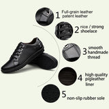 Mens Lace Up Fashion Black Flats - Presidential Brand (R)
