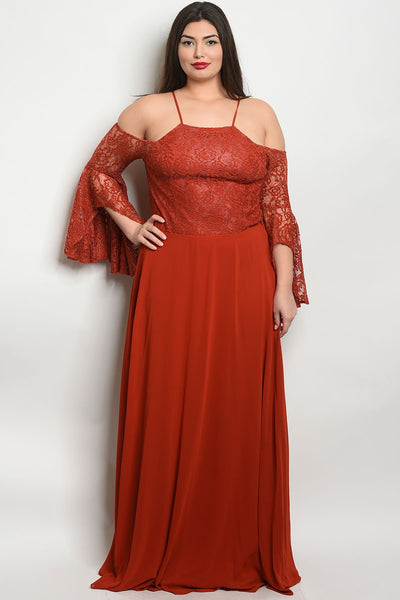 Women's Plus Size Earth Long Bell Sleeve Off The Shoulder Lace Detail Gown(6 pcs/ Bundle)