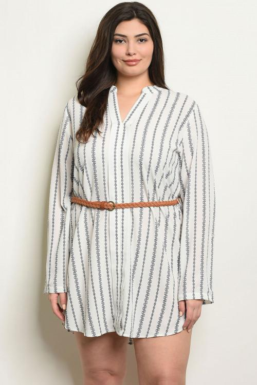 Women's Plus Size Ivory Navy Long Sleeve Striped Belted Tunic Shirt Dress(6 pcs/ Bundle)