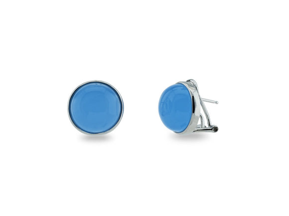 Faceted Blue Chalcedony Colored Cabuchon Clip Earrings in Sterling Silver - Presidential Brand (R)