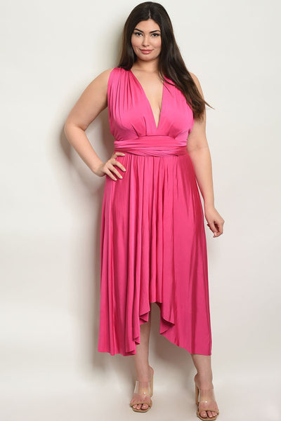 Women's Plus SIze Fuchsia Sleeveless Halter Neck Maxi Dress(6 pcs/ Bundle)