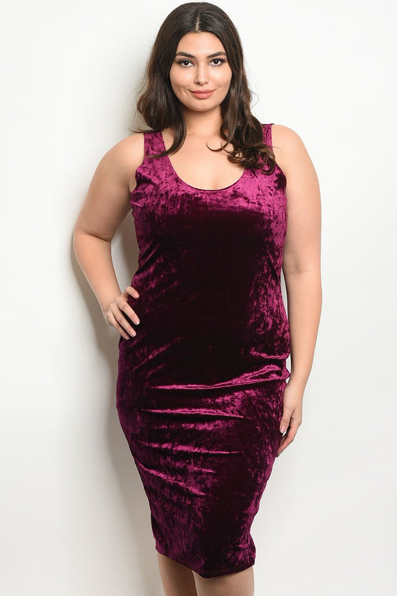 Women's Plus Size Plum Sleeveless Scoop Neck Velvet BodyCon Dress(6 pcs/ Bundle)