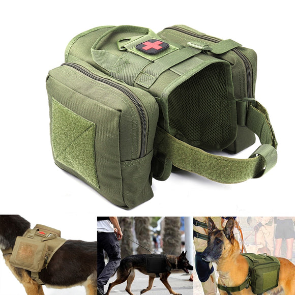 Tactical Dog Molle Vest Harness Adventure K9 Hunting Training Vest Kits With Removable Saddle Bags Hunting Dogs T-Shirt - Presidential Brand (R)