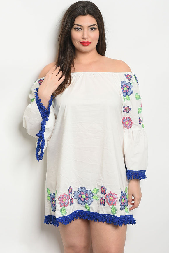 Women's Plus Size OffWhite Long Sleeve Off The Shoulder Embroidery Tunic Dress(6 pcs/ Bundle)