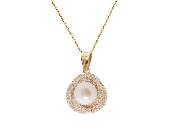 Classic 18k Gold Plated Silver Twisted Pearl & Pave Cubic Zirconia Necklace - Presidential Brand (R)