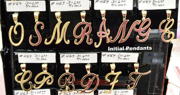 (1-2459-J3) Gold Overlay Large Cursive Letter Initials Pendant, 1-1/2
