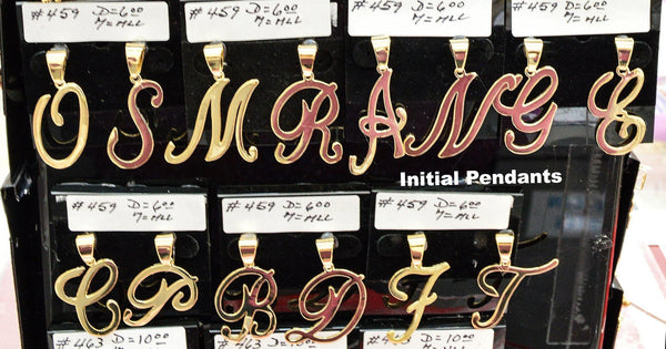 "(1-2459-J3) Gold Overlay Large Cursive Letter Initials Pendant, 1-1/2""."