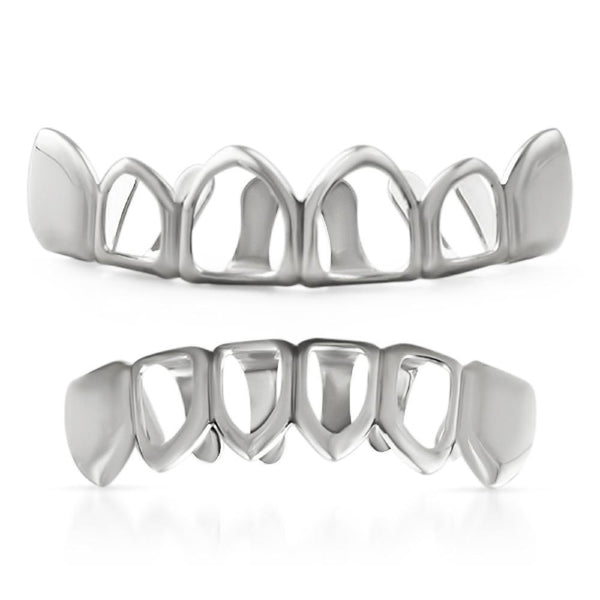 Hip Hop Grillz 4 Open Silver Teeth Set
