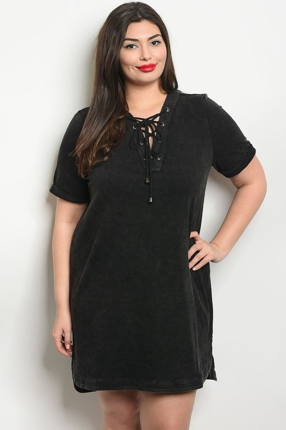 Women's Plus Size Black Short Sleeve Lace Up Detail Mineral Wash Tunic Top Dress(6 pcs/ Bundle) - Presidential Brand (R)