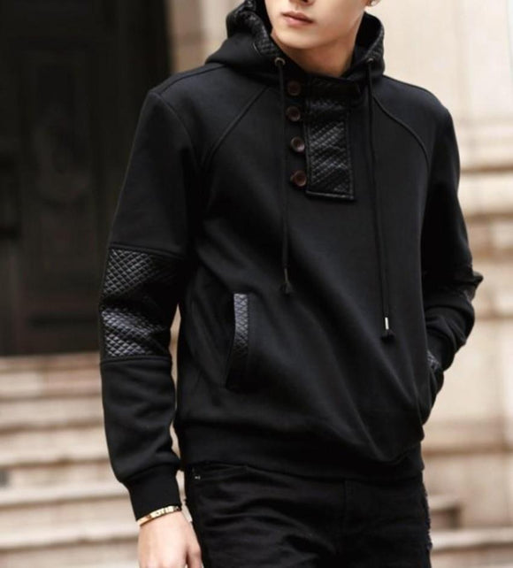 Mens Street Style Hoodie with Faux Leather Details - Presidential Brand (R)